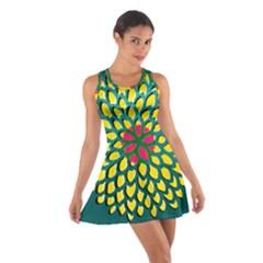 Sunflower Flower Floral Pink Yellow Green Cotton Racerback Dress