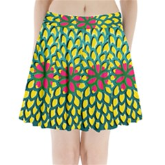 Sunflower Flower Floral Pink Yellow Green Pleated Mini Skirt
