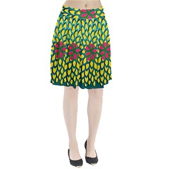 Sunflower Flower Floral Pink Yellow Green Pleated Skirt