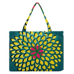 Sunflower Flower Floral Pink Yellow Green Medium Zipper Tote Bag