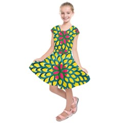 Sunflower Flower Floral Pink Yellow Green Kids  Short Sleeve Dress