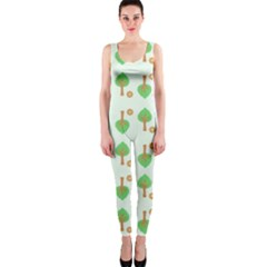 Tree Circle Green Yellow Grey OnePiece Catsuit