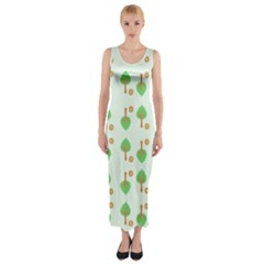 Tree Circle Green Yellow Grey Fitted Maxi Dress
