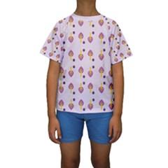 Tree Circle Purple Yellow Kids  Short Sleeve Swimwear