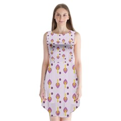 Tree Circle Purple Yellow Sleeveless Chiffon Dress