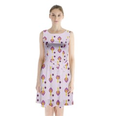 Tree Circle Purple Yellow Sleeveless Chiffon Waist Tie Dress