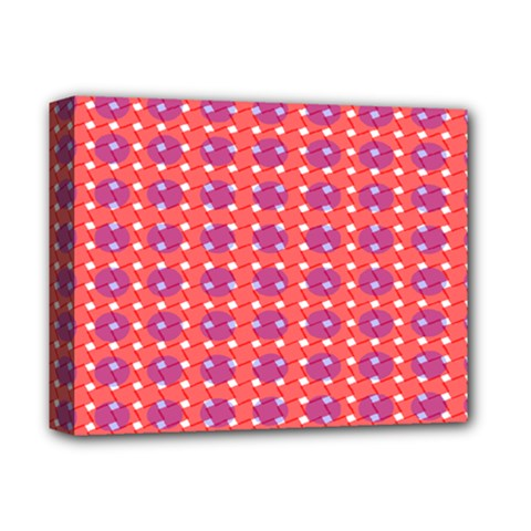 Roll Circle Plaid Triangle Red Pink White Wave Chevron Deluxe Canvas 14  x 11