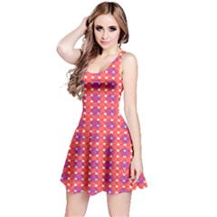 Roll Circle Plaid Triangle Red Pink White Wave Chevron Reversible Sleeveless Dress