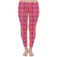 Roll Circle Plaid Triangle Red Pink White Wave Chevron Classic Winter Leggings