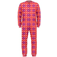Roll Circle Plaid Triangle Red Pink White Wave Chevron OnePiece Jumpsuit (Men)