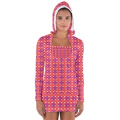 Roll Circle Plaid Triangle Red Pink White Wave Chevron Women s Long Sleeve Hooded T-shirt