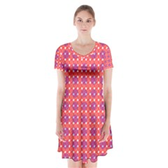 Roll Circle Plaid Triangle Red Pink White Wave Chevron Short Sleeve V-neck Flare Dress