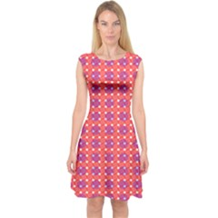 Roll Circle Plaid Triangle Red Pink White Wave Chevron Capsleeve Midi Dress