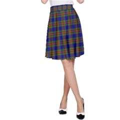 Tartan Fabrik Plaid Color Rainbow A-Line Skirt