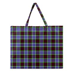 Tartan Fabrik Plaid Color Rainbow Triangle Zipper Large Tote Bag