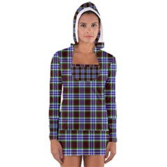 Tartan Fabrik Plaid Color Rainbow Triangle Women s Long Sleeve Hooded T-shirt