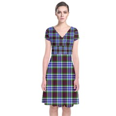 Tartan Fabrik Plaid Color Rainbow Triangle Short Sleeve Front Wrap Dress