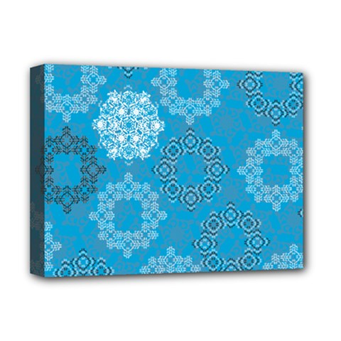 Flower Star Blue Sky Plaid White Froz Snow Deluxe Canvas 16  x 12