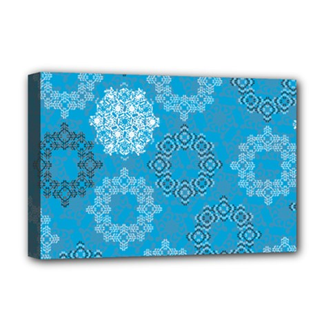 Flower Star Blue Sky Plaid White Froz Snow Deluxe Canvas 18  x 12