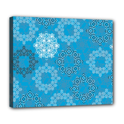 Flower Star Blue Sky Plaid White Froz Snow Deluxe Canvas 24  x 20