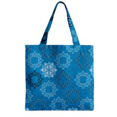 Flower Star Blue Sky Plaid White Froz Snow Grocery Tote Bag