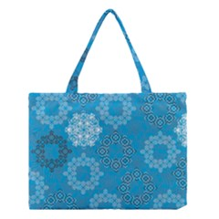 Flower Star Blue Sky Plaid White Froz Snow Medium Tote Bag