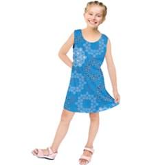 Flower Star Blue Sky Plaid White Froz Snow Kids  Tunic Dress