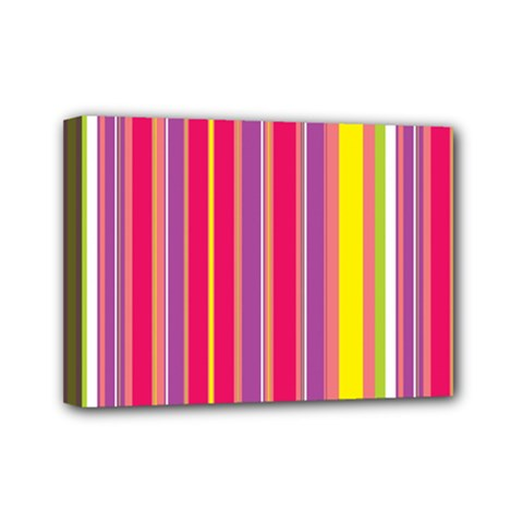 Stripes Colorful Background Mini Canvas 7  X 5