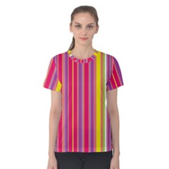 Stripes Colorful Background Women s Cotton Tee