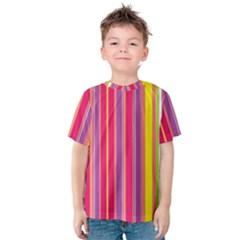 Stripes Colorful Background Kids  Cotton Tee