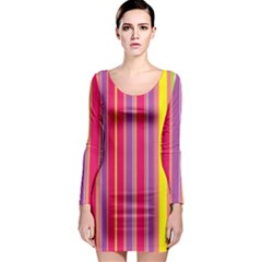 Stripes Colorful Background Long Sleeve Bodycon Dress