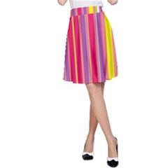 Stripes Colorful Background A-Line Skirt