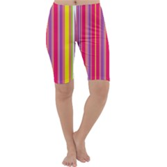 Stripes Colorful Background Cropped Leggings