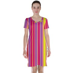 Stripes Colorful Background Short Sleeve Nightdress