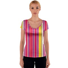 Stripes Colorful Background Women s V-Neck Cap Sleeve Top