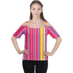 Stripes Colorful Background Women s Cutout Shoulder Tee