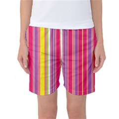 Stripes Colorful Background Women s Basketball Shorts