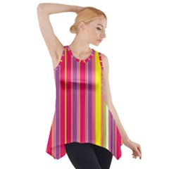 Stripes Colorful Background Side Drop Tank Tunic