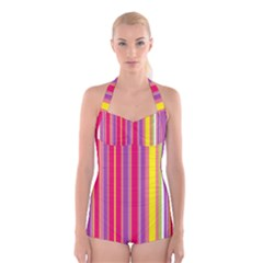 Stripes Colorful Background Boyleg Halter Swimsuit
