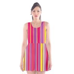 Stripes Colorful Background Scoop Neck Skater Dress
