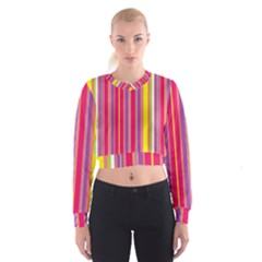Stripes Colorful Background Women s Cropped Sweatshirt