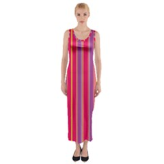 Stripes Colorful Background Fitted Maxi Dress