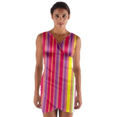 Stripes Colorful Background Wrap Front Bodycon Dress
