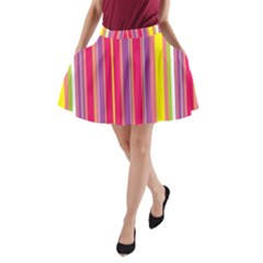 Stripes Colorful Background A Line Pocket Skirt