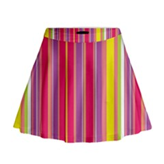 Stripes Colorful Background Mini Flare Skirt