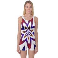 Fractal Flower One Piece Boyleg Swimsuit