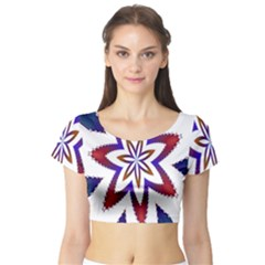 Fractal Flower Short Sleeve Crop Top (Tight Fit)