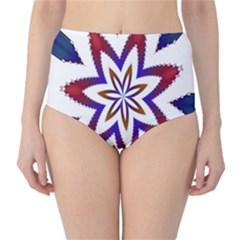 Fractal Flower High-Waist Bikini Bottoms