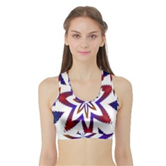 Fractal Flower Sports Bra With Border
