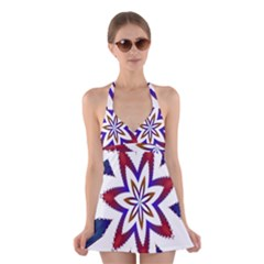 Fractal Flower Halter Swimsuit Dress